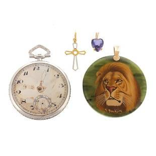 A Platinum Pocket Watch & Gold Pendants