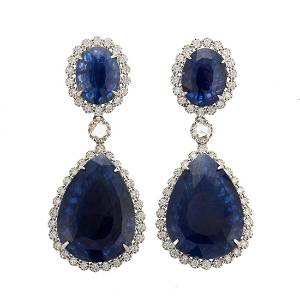 Impressive GIA 23.12 ctw Sapphire Earrings in 18K