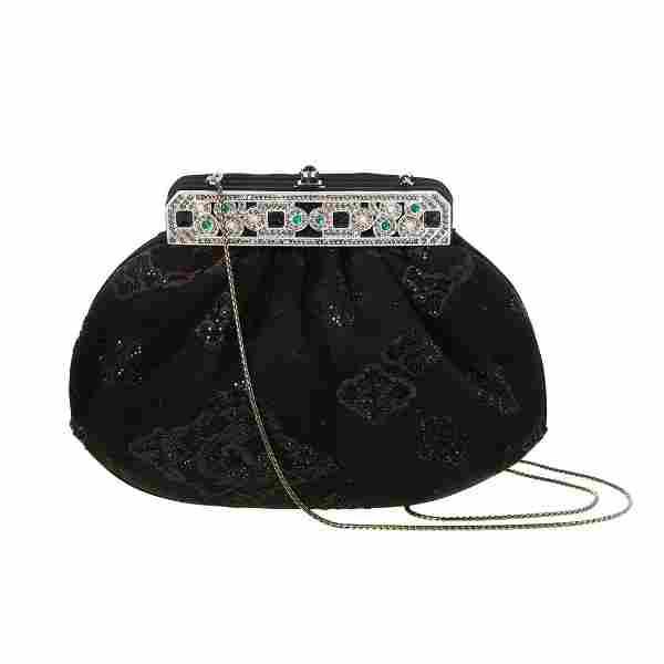 A Judith Leiber Satin & Crystal Evening Bag