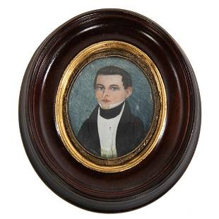 American School, 19th Century, Portrait Miniature