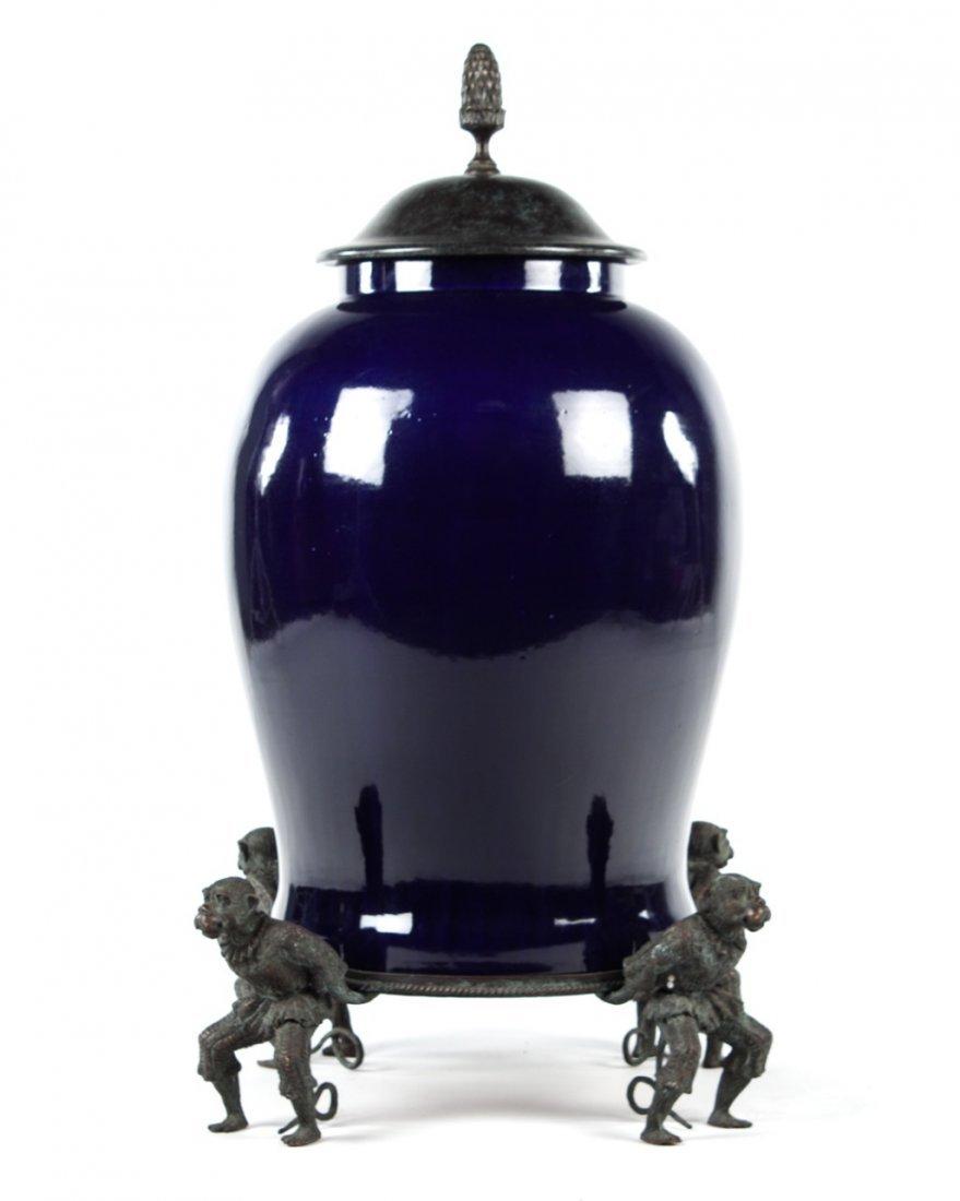 Continental style monumental cobalt porcelain jar