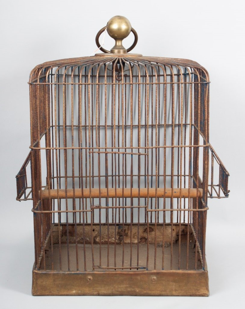 French wirework and brass bird cage
