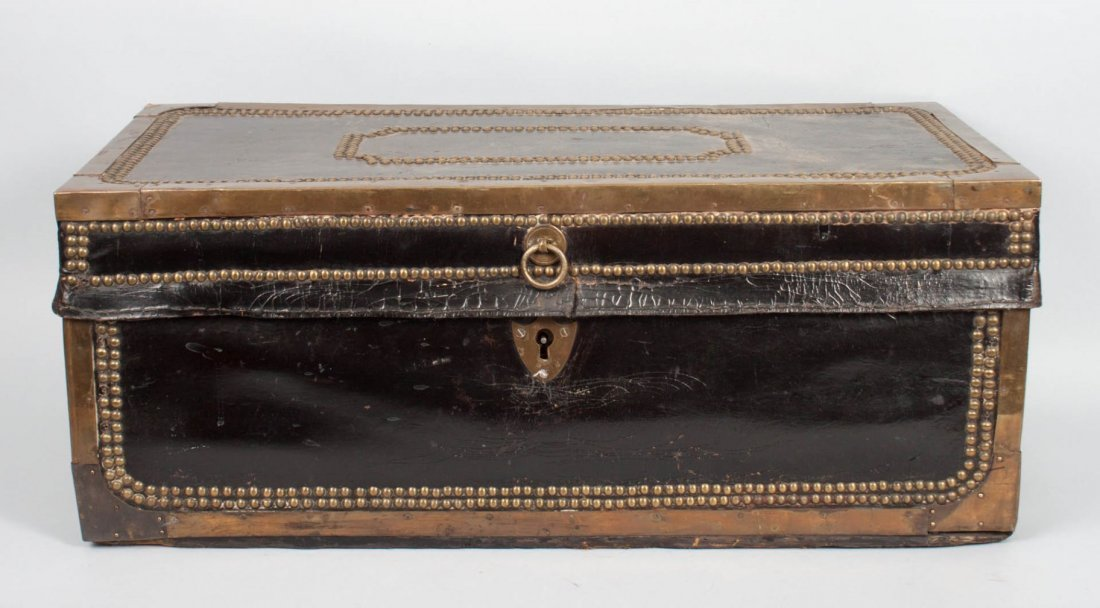 Victorian leather-bound cedar trunk