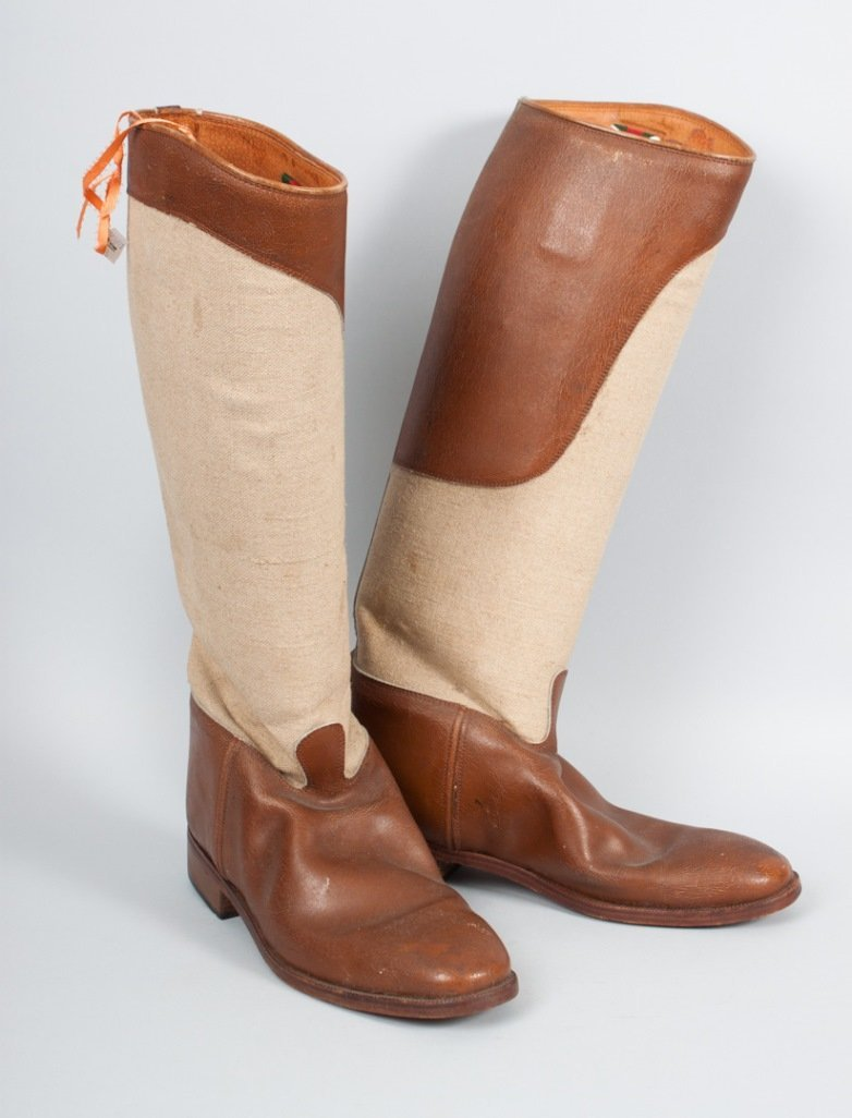 Pair of Gucci leather and canvas riding boots