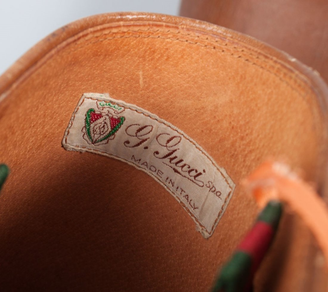 Pair of Gucci leather and canvas riding boots - 2