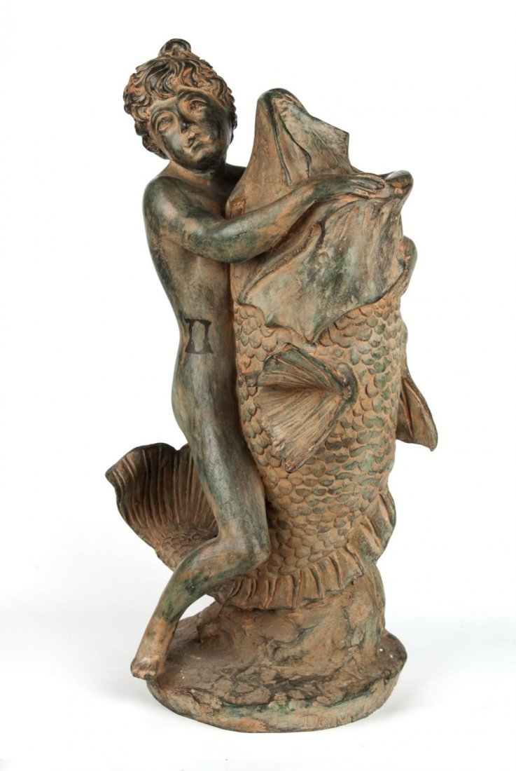 Classical style figural bronze fountain