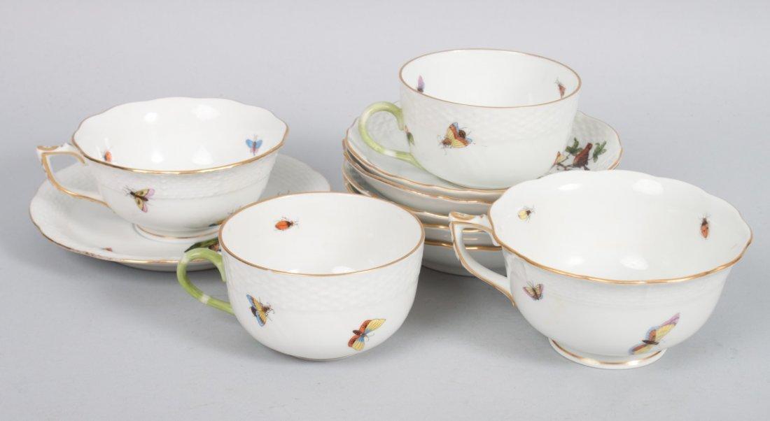 Ten pieces of Herend porcelain teaware