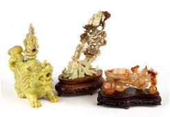 Three Chinese carved hardstone articles