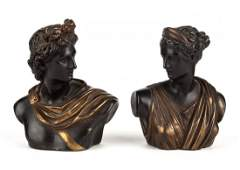 Pair of Armor bronze figural bookends