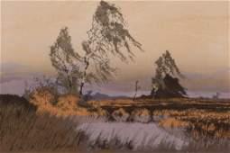 Oscar Droege Winter Prairie color woodcut