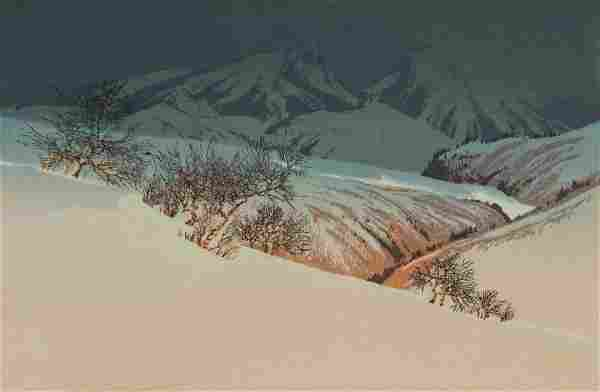 Oscar Droege. Winter Landscape, color woodcut