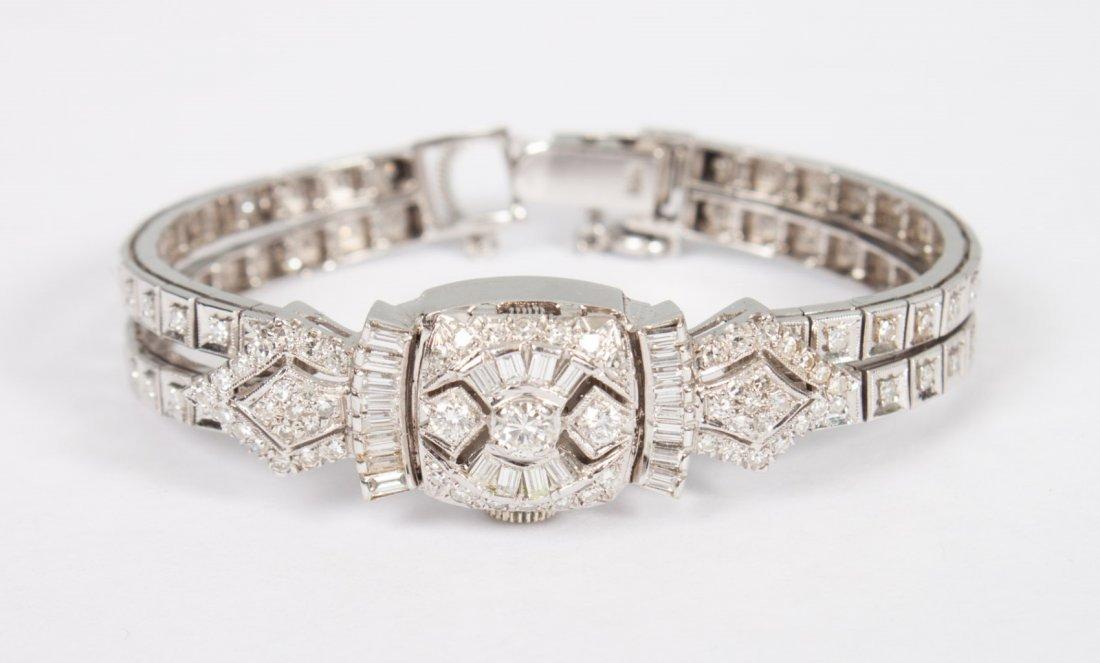 Lady's Geneva 14K white gold and diamond watch