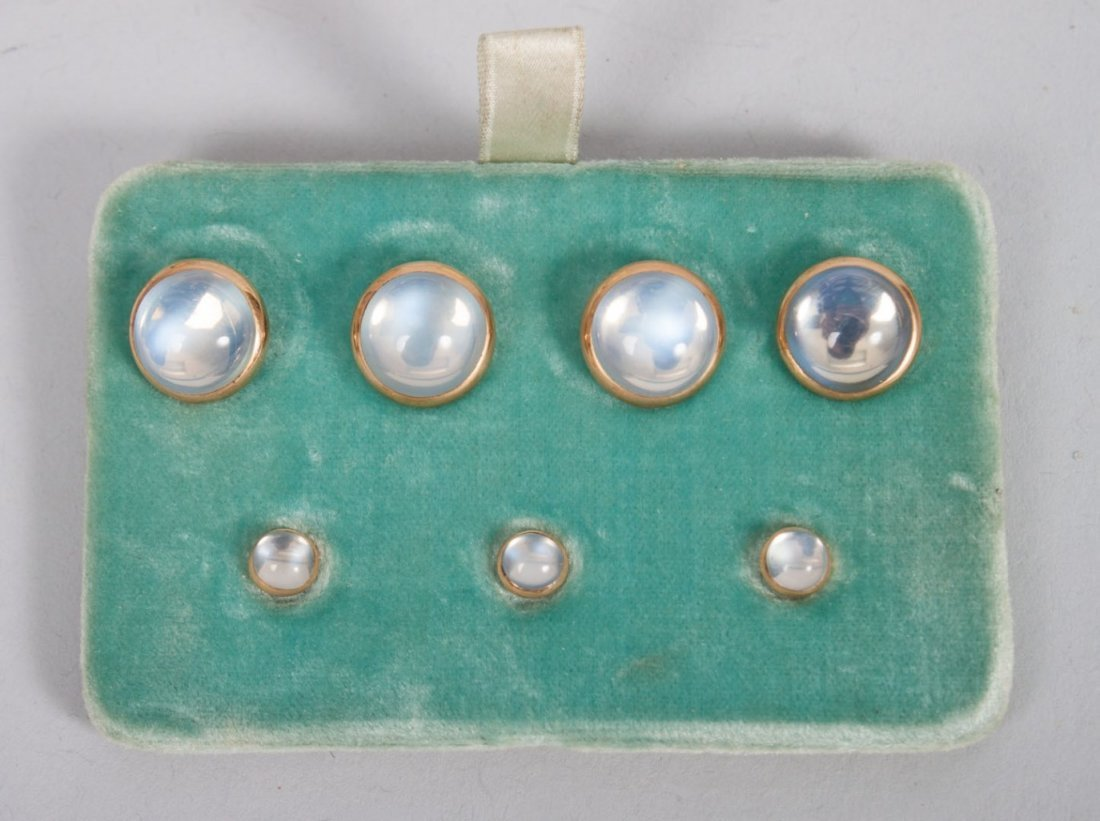14K gold and cabochon moonstone 7-piece stud set