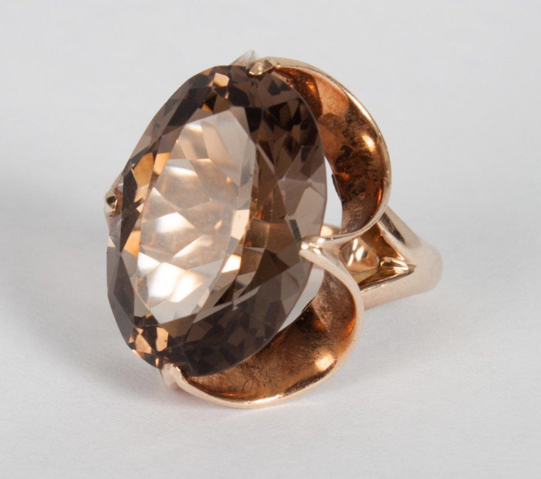Lady's 14K gold & smoky topaz cocktail ring