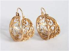 Pair of ladys 14K gold filigree hoop earrings