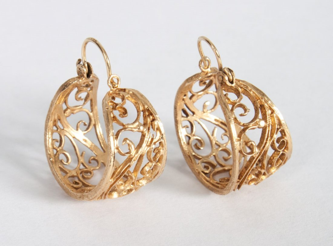 Pair of lady's 14K gold filigree hoop earrings