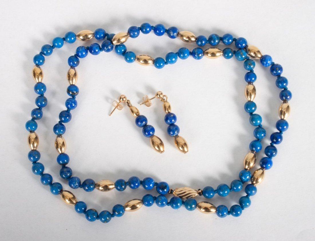 Lady's 14K gold & lapis lazuli necklace & earrings
