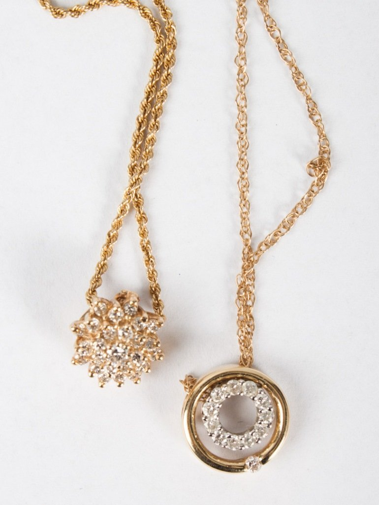 Two lady's 14K gold & diamond necklaces