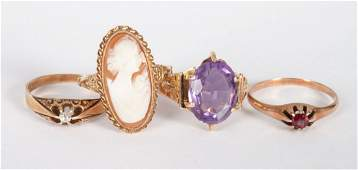 Four Ladys gold  colored stone rings