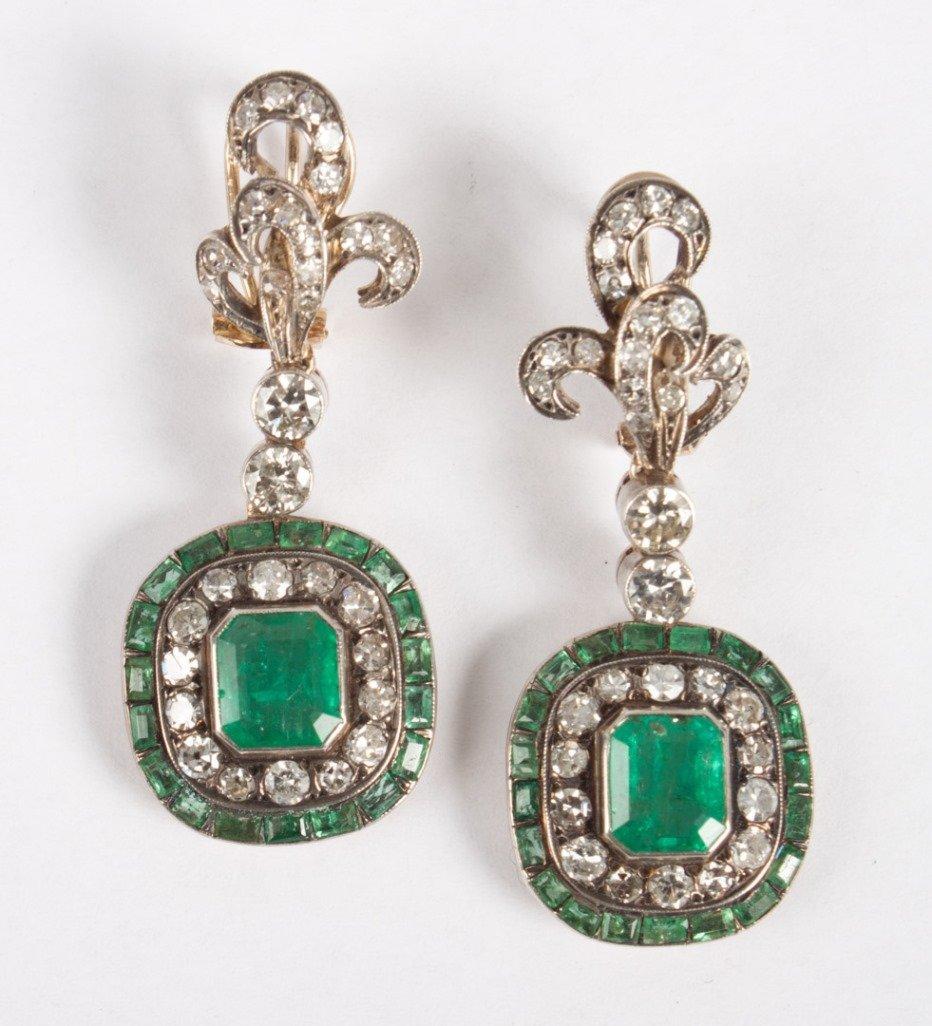 Pair of Victorian gold, diamond & emerald earrings