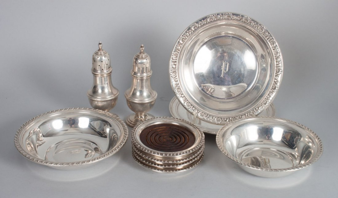 Ten sterling silver & silver-mounted articles