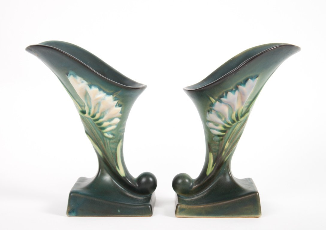 Pair of Roseville Freesia cornucopia vases