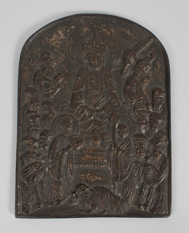 Chinese cast bronze Buddhist plaque