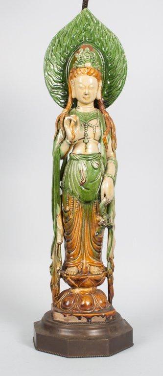 Chinese glazed stoneware Quan-Yin lamp