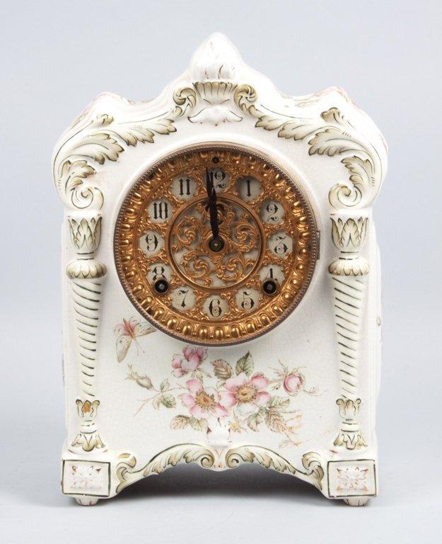Ansonia ceramic mantel clock