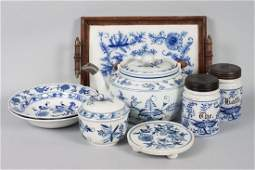 Eight assorted Blue Onion porcelain articles