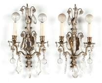 Pair of French brass wall sconces