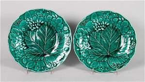 Pair of English Majolica plates