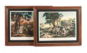 Nathaniel Currier Two framed color lithographs