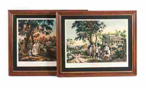 Nathaniel Currier. Two framed color lithographs