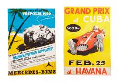 Two mid 20th century motoring posters, unframed