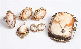 Five vintage cameo jewelry items