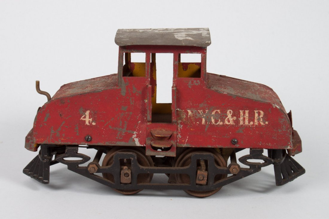 Knapp painted tin plate electric steeple-top loco