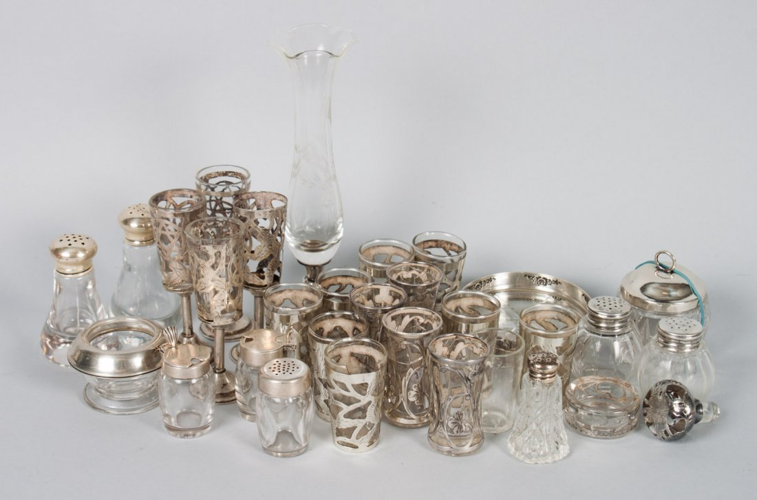 Group of silver mounted glass table articles