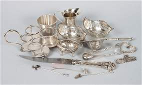 Group of Continental  American silver table items