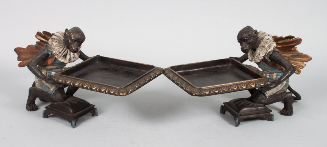 Pr of Continental style bronze monkey candy dishes