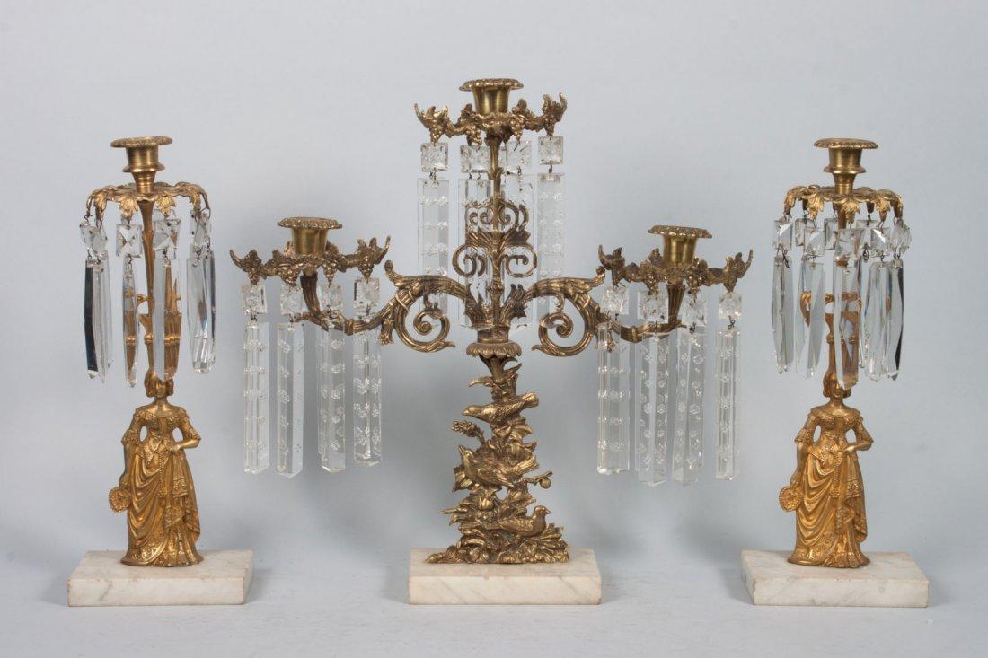 Three American Classical gilt-metal girandoles