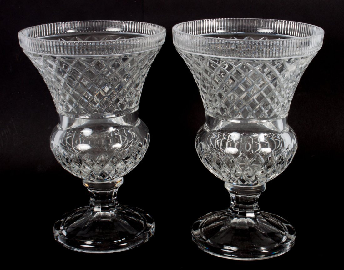 Pair of Classical style crystal urns