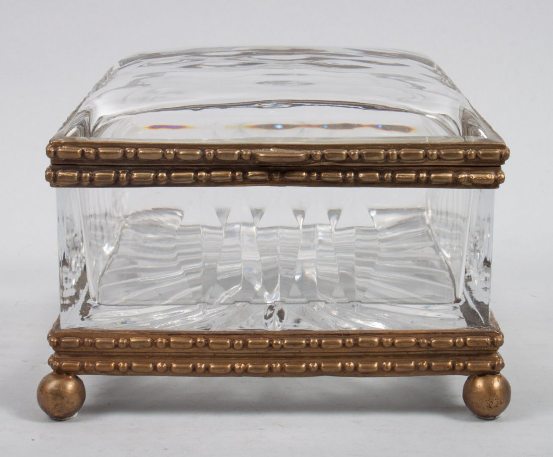 Continental style gilt-metal-mounted dresser box