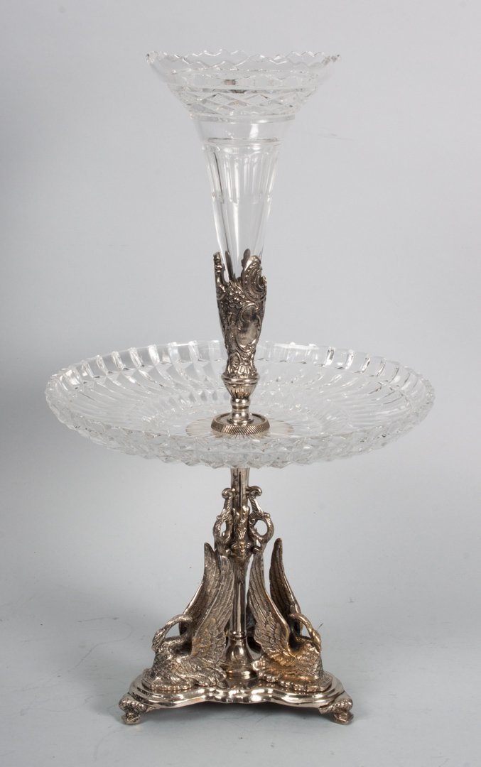Rococo style silver plate and glass epergne