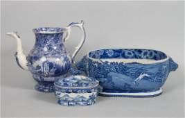 Three pieces of Staffordshire blue transferware