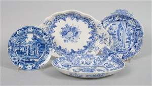 Four Staffordshire blue transferware dishes