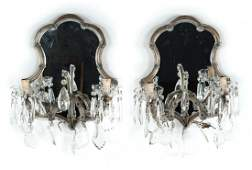 Pair of mirrored back venetian glass sconces