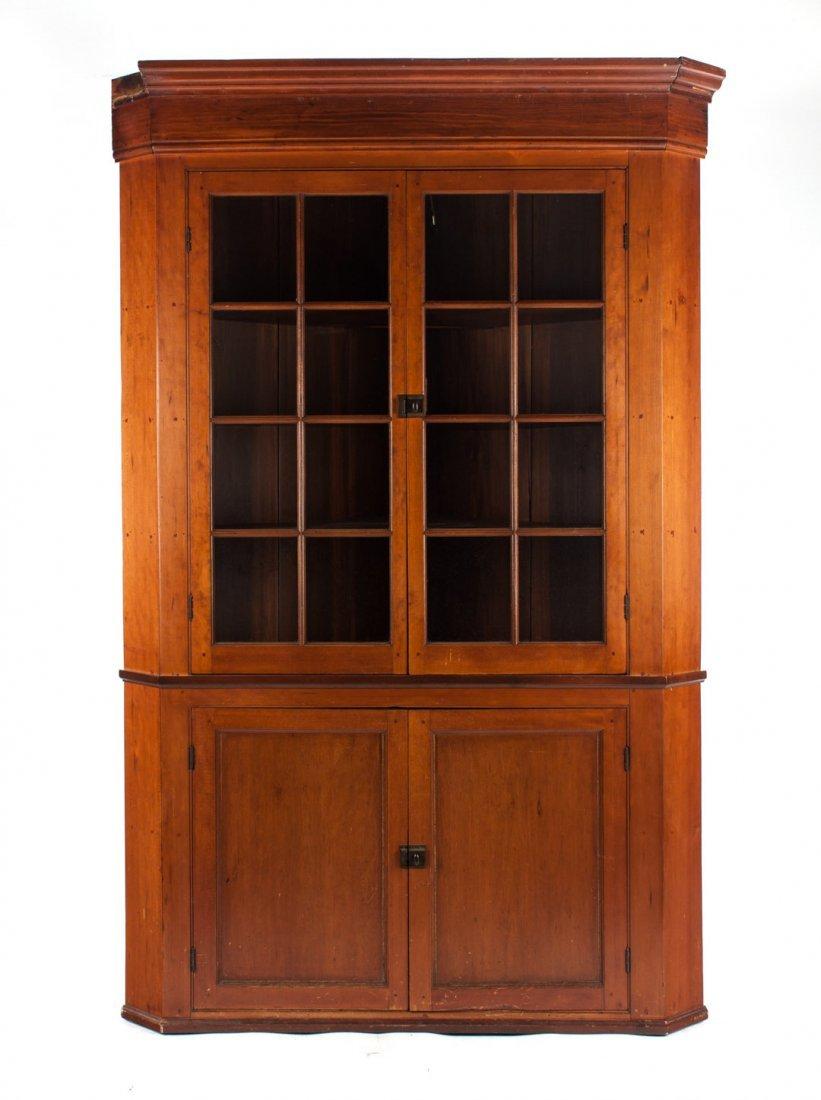 Federal cherrywood corner cupboard