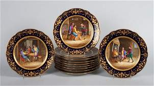 Set of 11 Porcelain de Paris cabinet plates