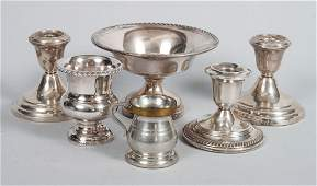 Five American silver  silverplated table items